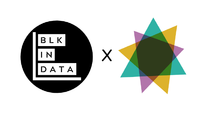 photo of BlackInData logo (black barchart with the words BlkInData) x DataVizSociety logo which has triangle shapes